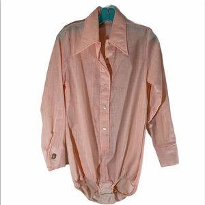 Vintage Seventies Peach Bodysuit Pointed Collar